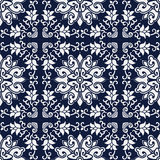 Seamless Blue Japanese Background Cross Spiral Vine Flower Royalty Free Stock Photos