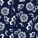 Seamless Blue Japanese Background Curve Spiral Botanic Flower Stock Photos