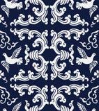 Seamless Blue Japanese Background Retro Spiral Wave Pigeon Stock Photos