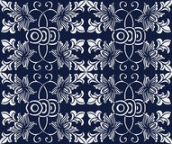 Seamless Blue Japanese Background Round Spiral Cross Vine Leaf Stock Images