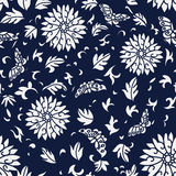 Seamless Blue Japanese Background Spiral Round Flower Butterfly. Leaf can be used for both print and web page Royalty Free Stock Image
