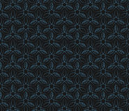 Seamless blue leaf vine line pattern background Royalty Free Stock Image