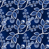 Seamless Blue Leaves and Berries on Branches. Leaves and berries in branches background. Seamless tile Royalty Free Stock Photography