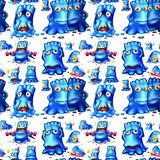 Seamless blue monster doing activities. Illustration Stock Photography