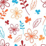 Seamless blue and orange floral pattern. Elegant vector illustration. For print, card. Seamless blue and orange floral pattern. Elegant vector illustration. For Royalty Free Stock Images
