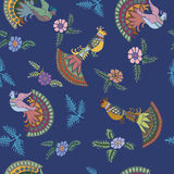 Seamless blue pattern with birds. Seamless pattern with decorative peacocks vector illustration