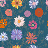 Seamless  blue pattern with dahlia flowers. Royalty Free Stock Image