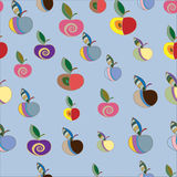 Seamless blue pattern with decorative apples. Seamless pattern with colorful apples stock illustration