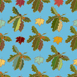 Seamless blue pattern with decorative leaves Royalty Free Stock Images