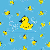 Seamless blue pattern with duck. And bubbles stock illustration