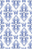 Seamless blue  pattern with floral background Royalty Free Stock Photography