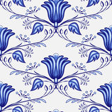 Seamless blue pattern from flowers and branches. Stylization of the Russian or Chinese painting on porcelain. Vector illustration Stock Images