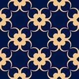 Seamless blue pattern with golden wallpaper ornaments Stock Photos