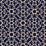 Seamless blue pattern with golden wallpaper ornaments Stock Photography