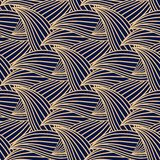 Seamless blue pattern with golden wallpaper ornaments Royalty Free Stock Photo