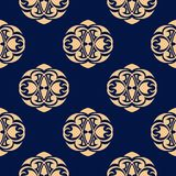 Seamless blue pattern with golden wallpaper ornaments Royalty Free Stock Images