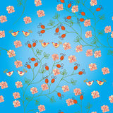 Seamless blue  pattern with hips Royalty Free Stock Image