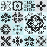 Seamless blue pattern majolica, arabic, indian, armenia. stock v Stock Photo