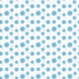 Seamless blue pattern of many snowflakes on white background. Ch. Ristmas winter theme for gift wrapping. New Year seamless background for website Stock Photos