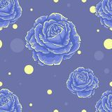 Seamless blue pattern with roses on blue background Royalty Free Stock Photo