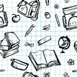 Seamless blue pattern with school supplies Stock Photography