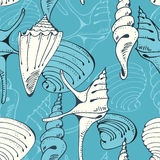 Seamless blue pattern with shells Stock Photography