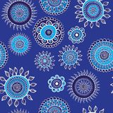 Seamless blue pattern with snowflakes. Royalty Free Stock Photography