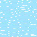 Seamless blue pattern with thin white waves Royalty Free Stock Image