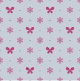 Seamless blue pattern with vinous flowers and butterflies Stock Photography