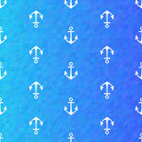 Seamless blue pattern with white anchors Stock Photos