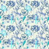 Seamless blue pattern with wildflowers. Seamless hand drawn blue pattern with wildflowers Stock Photography
