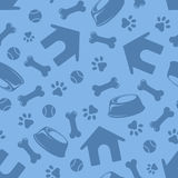Seamless Blue Pattern With Dogs Symbols. Vector Illustration. Royalty Free Stock Images