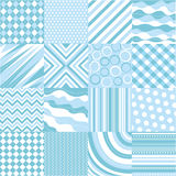 Seamless blue patterns with fabric texture Stock Image