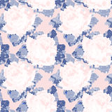 Seamless blue and pink abstract pattern with roses. Vector picture. Stock Photography