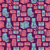 Seamless blue and pink cameras Royalty Free Stock Photos