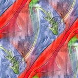 Seamless blue, red, green light watercolor artist wallpaper mode Stock Photography