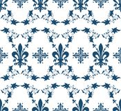 Seamless blue royal texture with fleur-de-lis Stock Photos