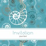 Seamless blue sea pattern fossil ammonite nautilus seashell vector. Hand drawn illustration for spa salon, seafood cafe royalty free illustration