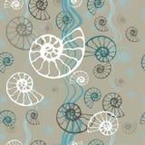 Seamless blue sea pattern fossil ammonite nautilus seashell vector. Hand drawn illustration for spa salon, seafood cafe, stock illustration
