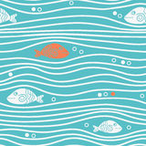 Seamless blue simple pattern with simple fishes and waves. Vector simple marine background. Royalty Free Stock Photos