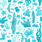 Seamless blue summer underwater pattern. Vector illustration. Various shell, algae, fish, starfish, bottle with a letter, key on white background Royalty Free Stock Photography