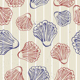 Seamless blue texture with clams. Royalty Free Stock Photography