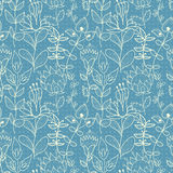 Seamless blue texture with flowers Stock Image