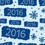 Seamless blue 2016. Seamless texture with an inscription 2016 made of snowflakes Stock Photography