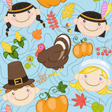 Seamless blue thanksgiving pattern with cute american indians, pilgrims, turkey and pumpkins Stock Photos