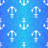 Seamless blue triangle pattern with white anchors Royalty Free Stock Image