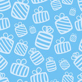 Seamless blue vector gift pattern Royalty Free Stock Photo