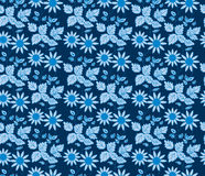 Seamless blue vintage floral wallpaper Royalty Free Stock Photography