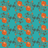 Seamless blue wallpaper pattern with roses Royalty Free Stock Photography