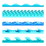 Seamless blue water wave vector bands set for footers, patterns and textures.  Stock Images